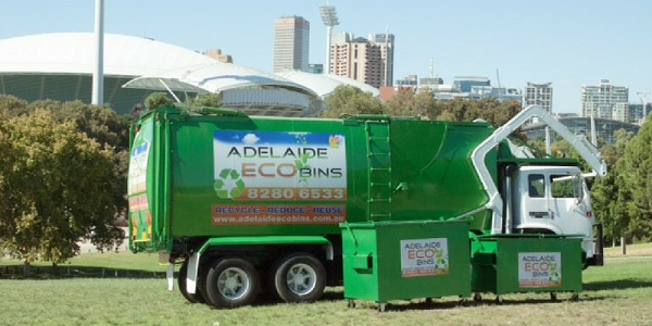 Skip bin and Adelaide Eco Bins rubbish truck - your workplace recycling and waste specialists